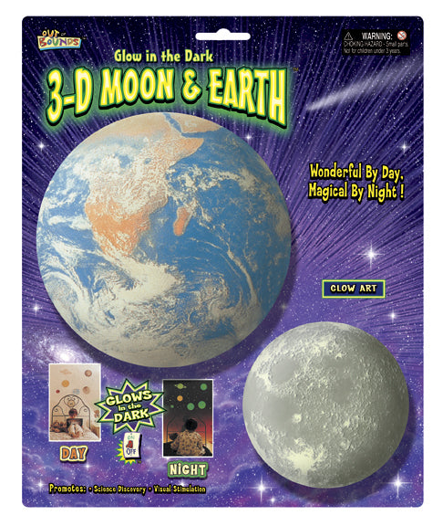 3D Moon and Earth Glow in the Dark