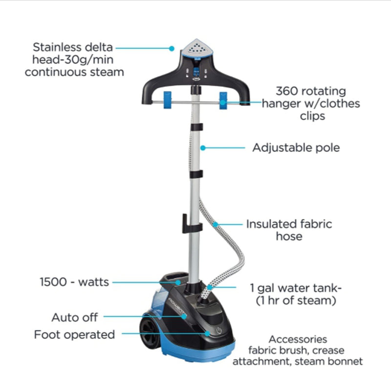 Rowenta IS6520 Master 360 Full Size Garment and Fabric Steamer with Rotating Hanger, Blue