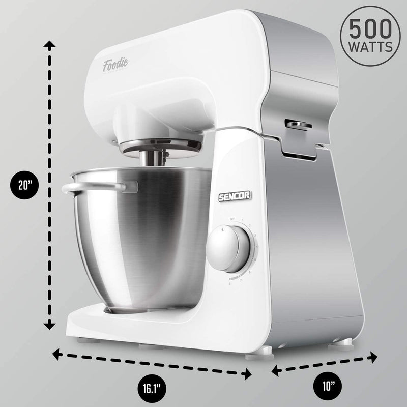 Sencor 8 Speed 4.5L Stand Mixer includes Dough Hook With 6 Attachments(STM 40WH-NAB1) - White