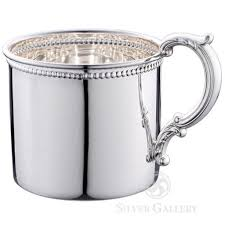 Silver Beaded Baby Cup