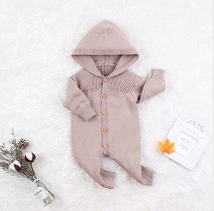 Knitted Baby Hooded Romper