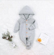 Load image into Gallery viewer, Knitted Baby Hooded Romper