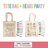 TOTE BAG + BEADS - DESIGN + COLOUR BIRTHDAY PARTY - Ages 6+