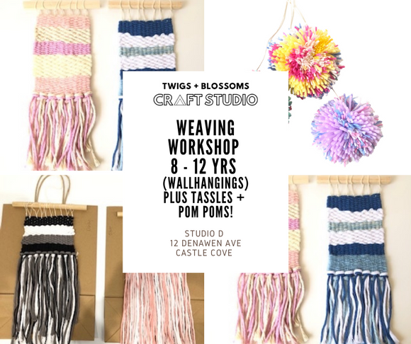 WEAVING WORKSHOP - Wallhanging with Tassle + Pom Pom Details - AGES 8 - 12 (Years 3-7 in 2021) - FRIDAY 9th April 2021
