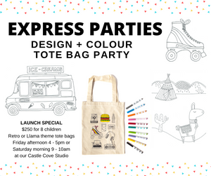 TOTE BAG EXPRESS PARTY - Ages 6 - 10 - Friday 4 - 5pm or Saturday 9 - 10am