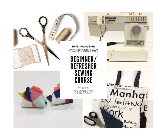 Adult Beginner Sewing (Machine) Course - 2 x 3hr classes - MARCH 13 and 20 - TWO SESSION TIMES AVAILABLE - 4 person maximum