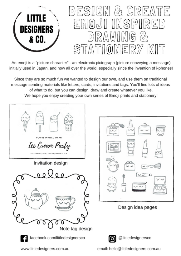 Emoji Design, Drawing and Stationery Pack - A4 Printable PDF