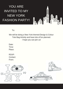New York Printable Invitation - Tote Bag At Home Party (A4 Australian size)
