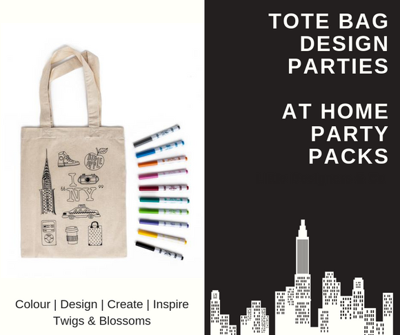 NEW YORK - COLOUR A TOTE BAG - AT HOME PARTY KIT for 6