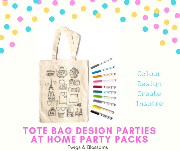 PARIS - COLOUR A TOTE BAG - AT HOME PARTY KIT for 10