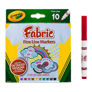 FABRIC MARKERS (CRAYOLA) - 10 fine line markers