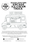 Retro Ice-Cream Truck - Design + Colouring-in Project - Little Designers & Co - A4 printable PDF