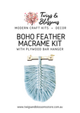 Small Boho Feather Macrame Kit - with plywood bar hanger