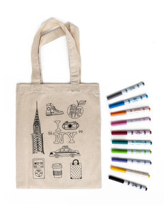 NEW YORK Colouring Tote Bag Kit - with fabric markers