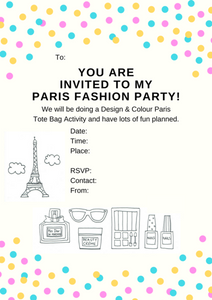 Paris Printable Invitation - Tote Bag At Home Party (A4 Australian size)