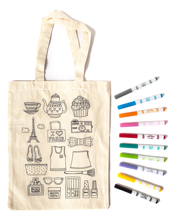 PARIS Colouring Tote Bag Kit - with fabric markers