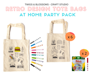 RETRO THEME - COLOUR A TOTE BAG - AT HOME PARTY KIT for 6