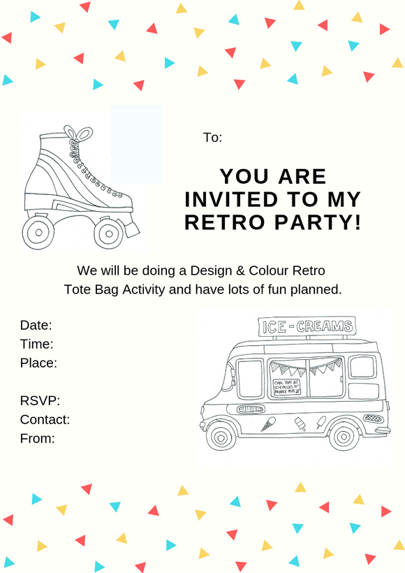 Retro Printable Invitation - Tote Bag At Home Party (A4 Australian size)
