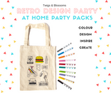 RETRO THEME - COLOUR A TOTE BAG - AT HOME PARTY KIT for 10