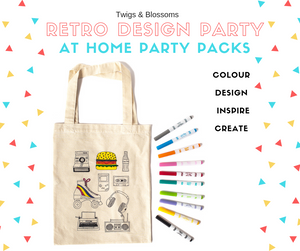 RETRO THEME - COLOUR A TOTE BAG - AT HOME PARTY KIT for 8
