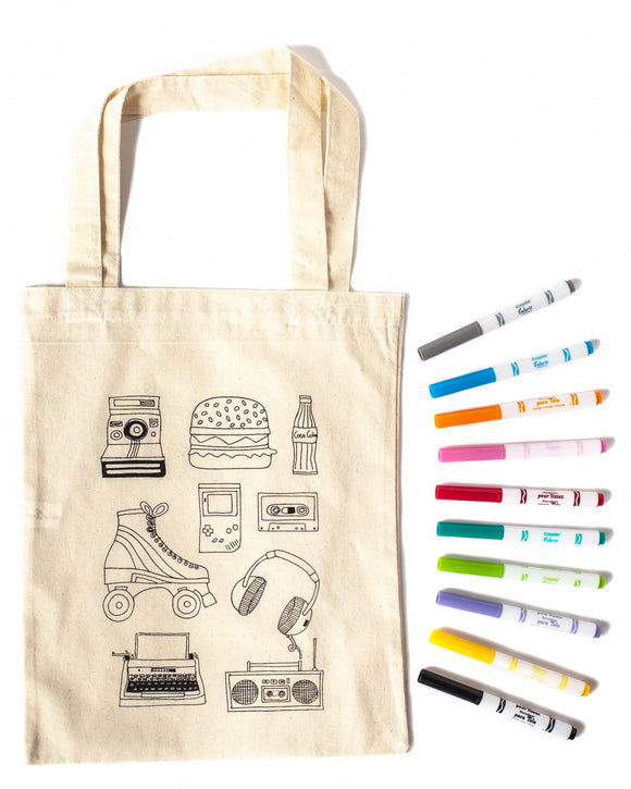 RETRO Colouring Tote Bag Kit - with fabric markers