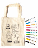 RETRO THEME - COLOUR A TOTE BAG - AT HOME PARTY KIT for 12