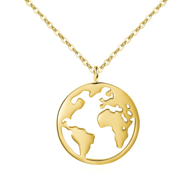 Worldmap Halskette Damen 925er Sterlingsilber - Gold