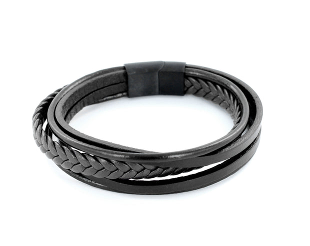 Leder Armband black braid