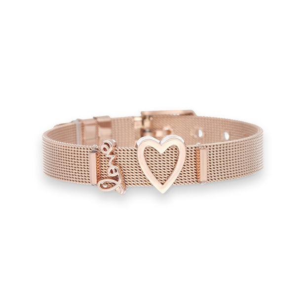 Mesharmband IN LOVE Roségold