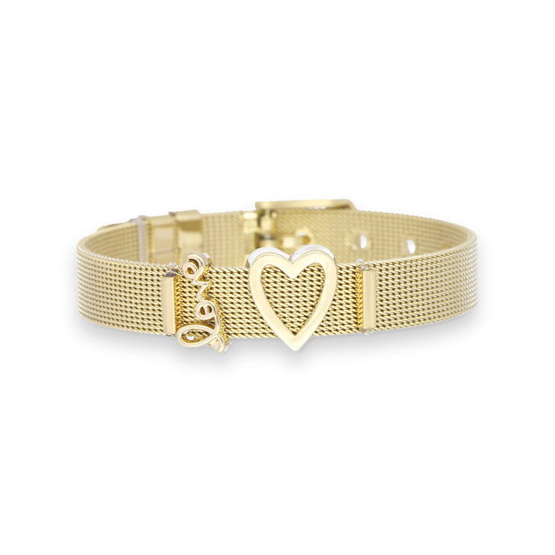 Mesharmband IN LOVE Gold