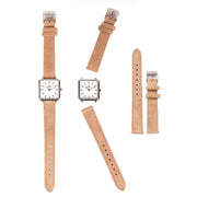 Leather Strap beige silver 16mm