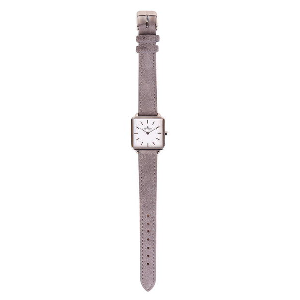 Leather Strap grey silver 16mm