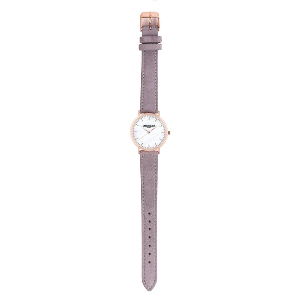 Leather Strap grey rosé 18mm
