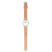 Leather Strap beige silver 18mm