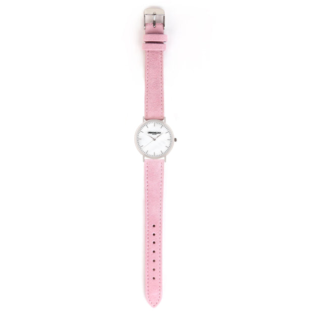 Leather Strap pink silver 18mm