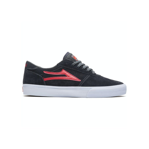 LAKAI SKATE SHOES: MANCHESTER Charcoal/Flame Suede. Sizes 5,6,7,8,9,10,11.