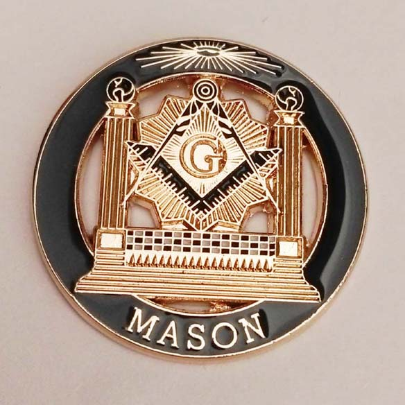 Double Column Masonic Lapel Pin With Butterfly Clutch On Backing