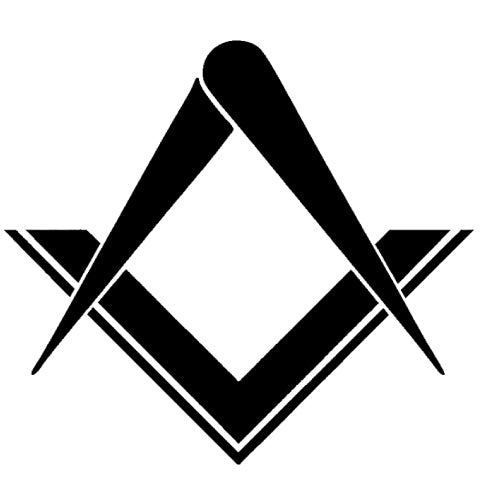 FREEMASON MASONIC SQUARE COMPASS STICKERS -BLACK & WHITE