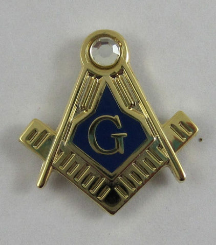 Masonic Freemason 19mm Lapel Pin Blue Lodge, gift, brass material rhinestone Jeweled Square & Compass lapel Pin