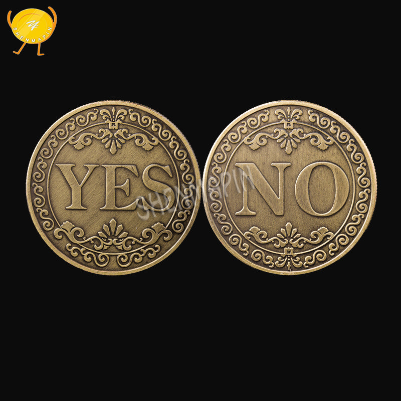 Three-dimensional relief YES OR NO decision coin