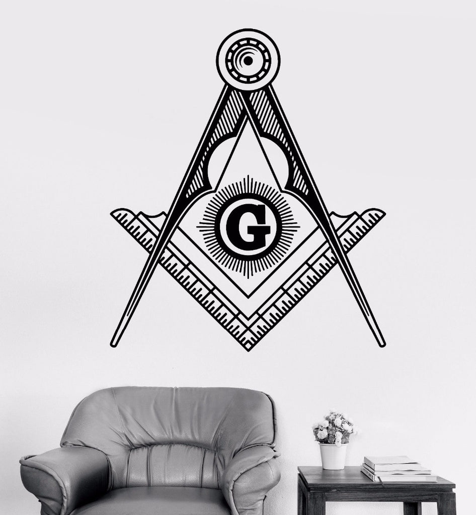 Wall Art Mural Removable Vinyl Masonic (Black)
