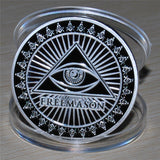 SILVER PLATED COIN MASONIC. (with all-seeing eye)