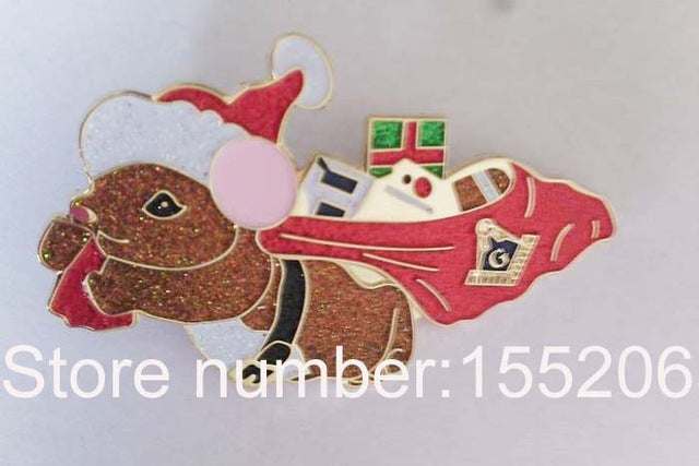 Masonic Christmas mouse with hat and gifts lapel pin