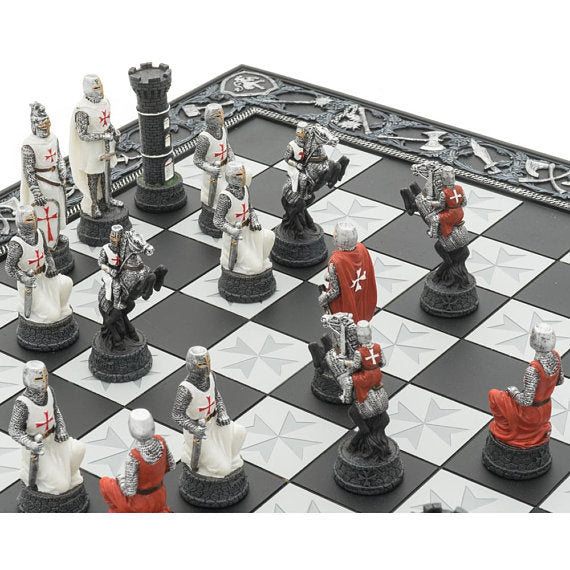 The Knights Templar Crusade Hand Painted Themed Chess Set