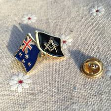 Free masons pins New Zealand Flag Freemason Masonic Pin.