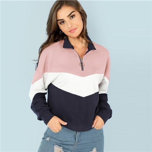 Micah'sBox™ Multicolor O-Ring Zip Front Cut and Sew Sweatshirt Athleisure Stand Collar Raglan Sleeve Sweatshirt