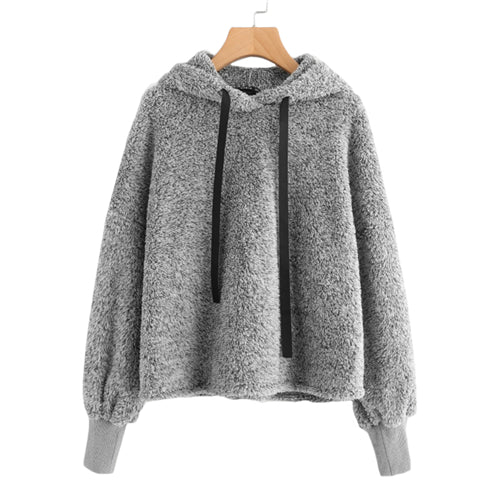 Micah'sBox™ Faux Fur Fluffy Hoodie Casual Sweatshirt Grey Long Sleeve