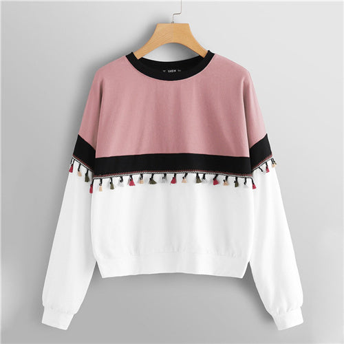 Micah'sBox™ Multicolor Cut and Sew Tassel Detail Colorblock Fringe Round Neck Sweatshirt