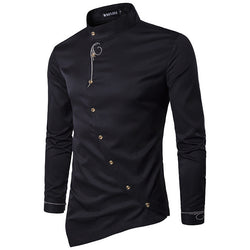 New 2018 Fashion Long Sleeve Mandarin Collar Men's Tuxedo Shirts
