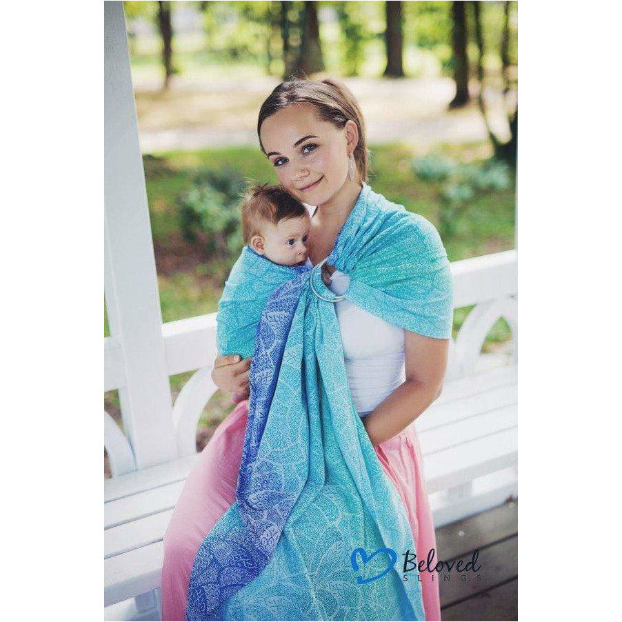 Fascia Ad Anelli Beloved Slings Azure Dahlias - Shop Millemamme